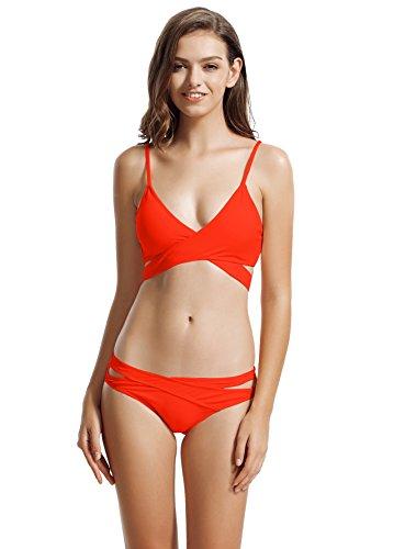 zeraca Women's Plus Size Cutout Bottoms Wrap Bikini Bathing Suits (XL18, Coral Blaze)