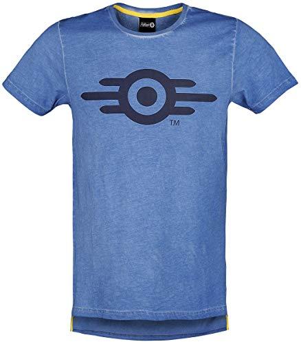 Fallout 76 - Vault Tec Männer T-Shirt blau L 100% Baumwolle Bethesda, Fan-Merch, Gaming