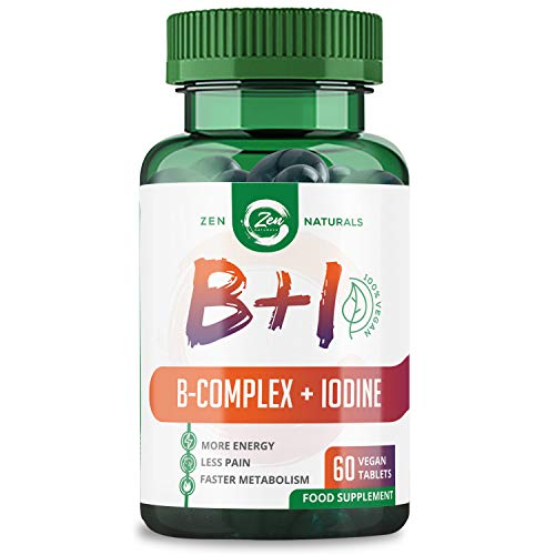 Vitamin B Complex + Iodine - 100% Vegan- All 8 B Vitamins with B12 for Extra Energy, Biotin for Strong Hair, Bio-Available Folic Acid (B9) and Iodine from Sea Kelp for Metabolism and Thyroid Support