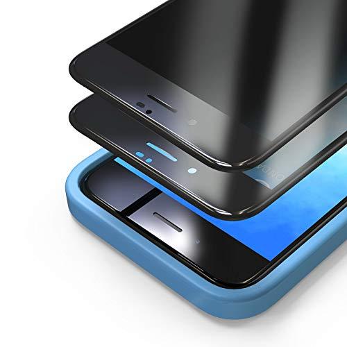 Bewahly Privacy Panzerglas Schutzfolie für iPhone 7/8/SE 2020 [2 Stück], 3D Full Screen Sichtschutz Panzerglasfolie Blickschutzfolie Displayschutzfolie Anti-Spy Glas Folie mit Positionierhilfe,Schwarz