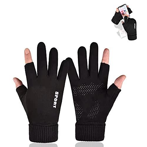 HITNEXT Fahrradhandschuhe, Arbeitshandschuhe Fingerlos Mountainbike Motorrad Touchscreen Handschuhe, 2-Fingerless Winter Biking Handschuhe für Männer Frauen