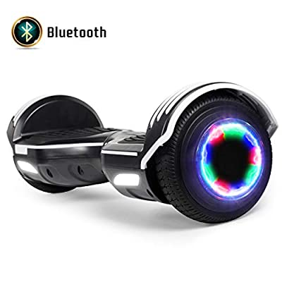 """FLYING-ANT Hoverboard with Bluetooth, Self Balancing Electric Scooter 6.5"""" Two-Wheel Hover Boards with LED Lights for Kids and Adult-A05 Black"""