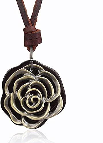 NC110 Collar con Colgante de Cuerda de Cuero Artificial para Hombres y Mujeres, aleación de Moda, Collar con Personalidad Rosa, joyería-café YUAHJIGE