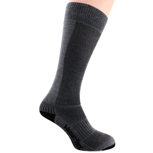 Wrightsock Profi Sportsocke, optimal für Ski- oder Militärstiefel, Modell Coolmesh II OTC in grau, Anti-Blasen-System, Socke doppel-lagig, Socken sind extra lang, Gr. L