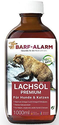 barf-alarm Premium Lachsöl für Hunde 1 Liter mit Omega 3 und Omega 6 Fettsäuren – Fischöl für den Hund & Katze – Barf Lachs für Welpen Adulte Senioren, Katzen &...