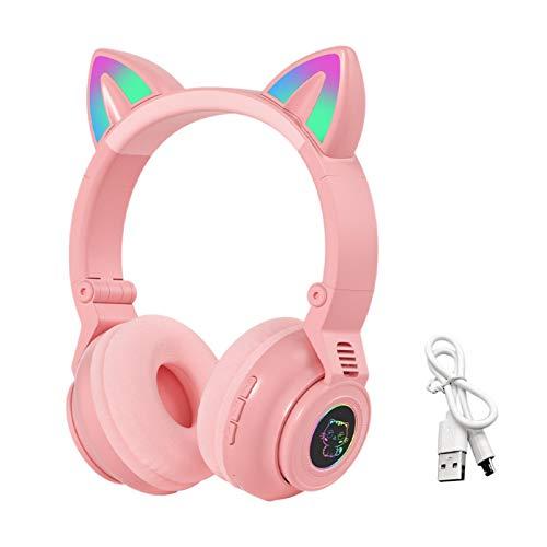 JJSCHMRC Auriculares inalámbricos Bluetooth para juegos, Bluetooth 5.0 orejas de gato inalámbrico estéreo auriculares coloridos luces LED plegables para niños adultos