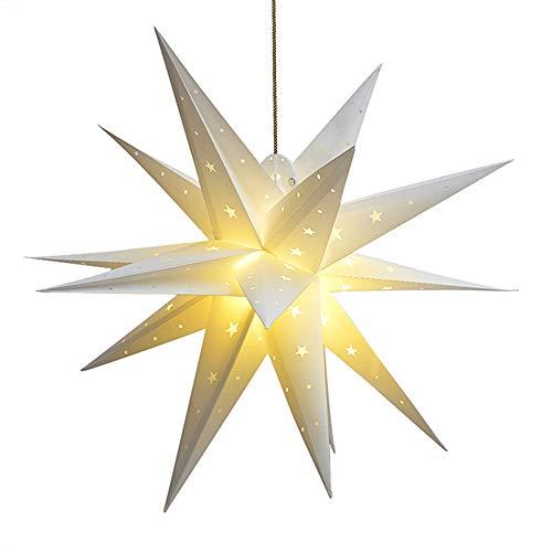 Qijieda 3D Weihnachtsstern Beleuchtet Batterie mit Timer - 45cm led Christbaumspitze Stern, Adventsstern Stern Zum Dekorieren von Weihnachtsbaum, Innenhof, Balkon Und Garten