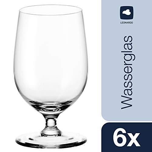 Leonardo Wasserglas Ciao+, 6-er Set, 300 ml, spülmaschinenfest, Teqton-Kristallglas, 061453