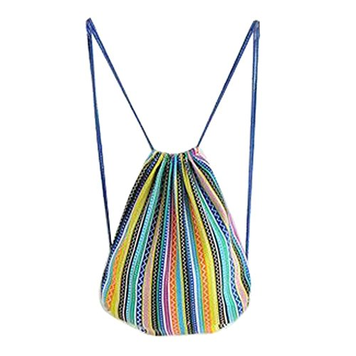 Unisexe Voyage Sport Drawstring sacs à dos en toile Colorful Stripes style