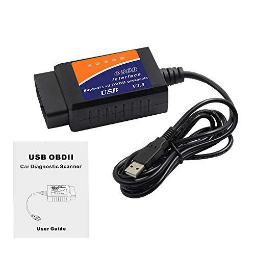 1neiSmartech Mini OBDII USB V1.5 Scanner für Can-Bus mit 16-poliger Buchse Diagnose Auto Diagnose Interface mit USB-Kabel Erkennung elektronischer Fehlerkorrekturen Auto