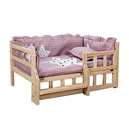 Cama para perros con estructura de madera para mascotas grandes, medianas y pequeñas, colchoneta de cojín lavable, cuna para perros ortopédica elevada (color: rosa, tamaño: 54 & times; 39 & times; 36c