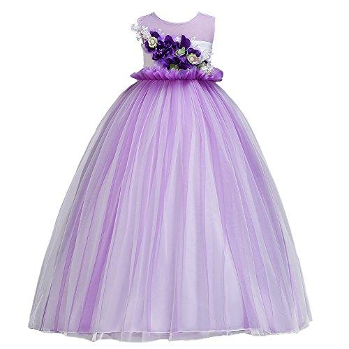 Princesa Vestido de niña de Flores para la Boda Sin Mangas Vestidos de Dama De Honor Halloween Fiesta Tul Comunión Cumpleaños Bola Pageant Paseo Baile Maxi Cóctel Vestir 4-14 Años