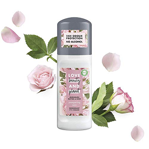Love Beauty And Planet Déodorant Femme Bille Protection 24h, sans Alcool, Huile de Coco Bio, Beurre de Muru Muru et Rose, Certifié Vegan, Brume 50ml