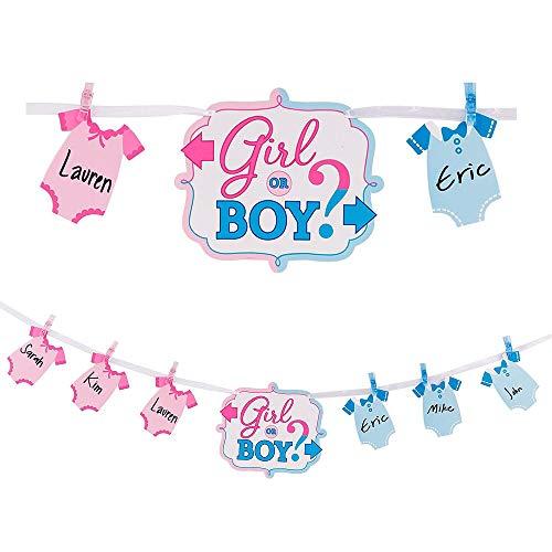 amscan International - Striscione per ragazza o bambino, 68,04 g, colore: Blu/Rosa