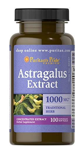 PURITAN'S Pride Astragalus Extract 1000 MG 100 SOFTGELS Fast Dispatch (457)