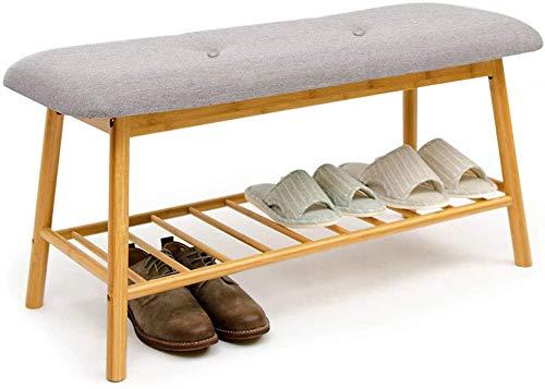 Simple Schuhbank, Schuhregal, Bambus, Ottomanen, Fußhocker, Aufbewahrungsregal, 84 x 30 x 45 cm Schuhregal, Holzfarbe