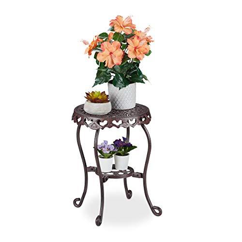 Relaxdays Blumenhocker Gusseisen, rund, antik, H x D: 41 x 36,5 cm, kleiner Vintage Pflanzenhocker, innen & außen, braun