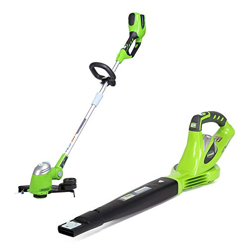 Greenworks 13-Inch 40V Cordless String trimmer + 150 MPH Variable Speed Cordless Blower, Batteries Not Included
