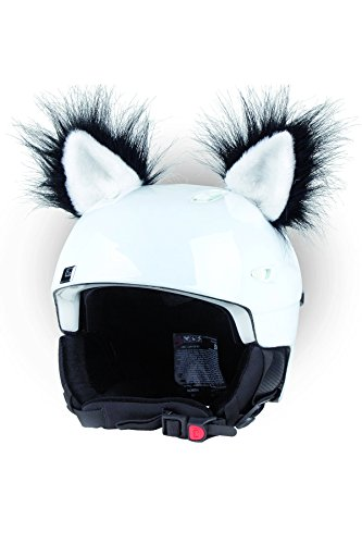Crazy Ears Helm-Accessoires Ohren Katze Tiger Lux Frosch, Ski-Ohren geeignet für Skihelm, Motorradhelm, Fahrradhelm und vieles mehr, CrazyEars:Schwarz Weiße Katze