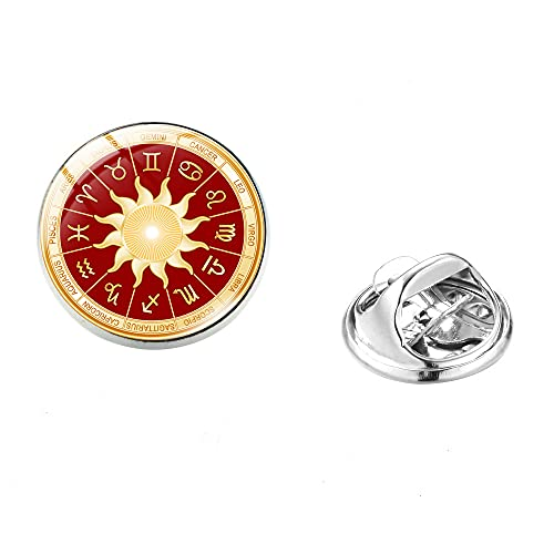 12 Constellations Zodiac Sign Glass Dome Brooch Pin For Women Men Gift Cancer Leo Virgo Libra Photo Brooches Jewelry