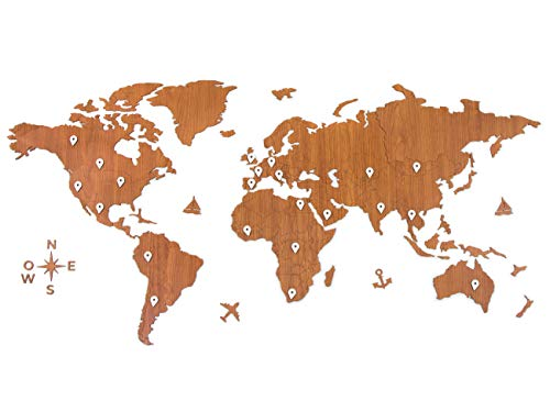 CONTRAXT Mapa Mundi Pared Grande - Cuadro mapamundi Gigante Madera Decoracion Pared Paneles Decorativos 3D Murales Vintage habitacion Salon Modernos 🔥