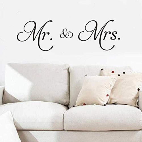 Wandaufkleber Mr & amp; Amp;Mrs Vinyl Wandtattoo Wohnzimmer Dekoration Abnehmbare moderne Minimalismus Wandaufkleber für Schlafzimmer Home Decor
