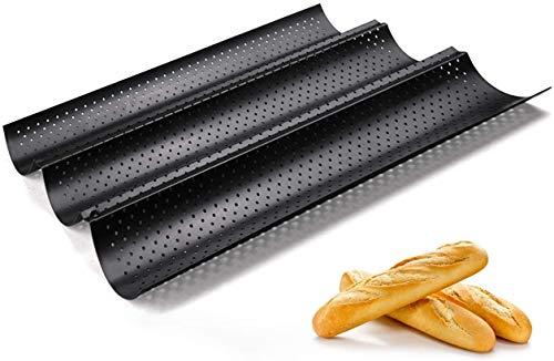 Fontien Baguette Backblech Baguetteform Antihaftbeschichtet Karbonstahl für 3 Baguette 38 x 24,5 cm