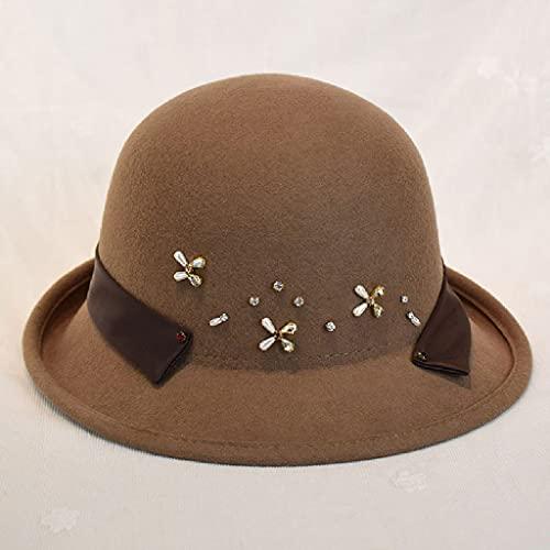 AAKKY Autumn Winter Women Vintage Felt Fedora Hat Elegant for Lady Autumn and Winter Caps (Color : Brown, Size : 56-58cm)