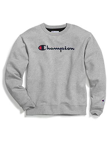 Champion Herren Powerblend Graphic Crew Sweatshirt, Oxford-Grau, Groß