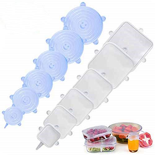 LOHOTEK Elásticas Tapas-de-Silicona Reutilizable-Ajustables Fundas para Alimentos-Protectoras - para Varios recipientes, Lavavajillas, Horno microondas, congelador (12 Packs Cuadrados + Redondos)