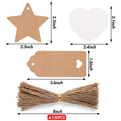 150 PCS Kraft Paper Gift Tags Kraft Hang Tags with String Great as Christmas Gift Tags, Wedding Favor Tags, Birthday Gift Tags, Baby Shower Favor Tags,or Other Place Name Cards. Photo #2