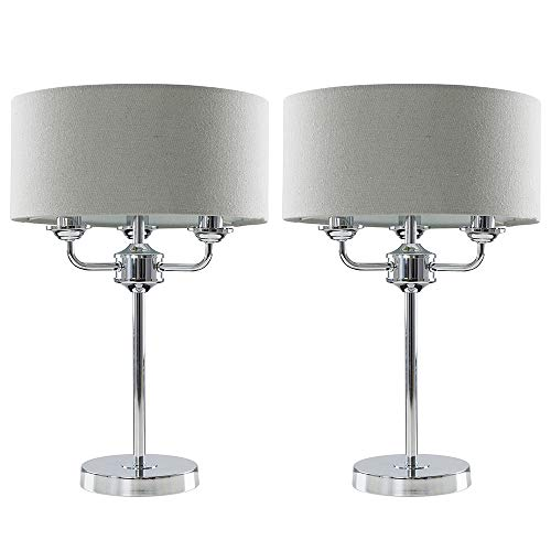Pair of - Modern Chrome 3 Way Multi Arm Table Lamps with Grey Linen Slimline Drum Shades