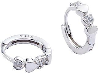 Double Love Heart Cubic Zirconia Sleeper Small Hoop Earrings for Women Teen Girls Cartilage Tiny Cute CZ Huggie Hoops Hypo...