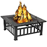 ZENY 32'' Outdoor Fire Pits BBQ Square Firepit Table Backyard Patio Garden Stove Wood Burning Fireplace with Spark Screen Cover,Poker,Cover,Grill
