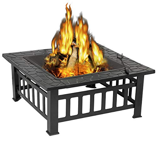 ZENY Outdoor 32'' Metal Fire Pits BBQ Square Table Backyard Patio Garden Stove Wood Burning...