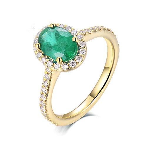 AnazoZ Anillos de Esmeraldas para Mujer,Anillo de Compromiso Mujer Oro Amarillo 18K Oro Verde Oval Esmeralda Verde 0.8ct Diamante 0.24ct Talla 15