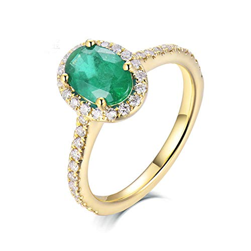 AmDxD no-metal-stamp (Fashion only) oro amarillo 18 ct ovalada Green Emerald