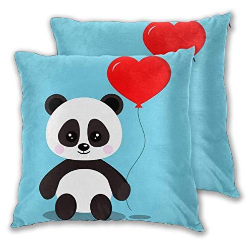 Lewiuzr Fundas de Almohada cuadradas, Panda con Globo, Paquete de 2 Fundas de cojín Decorativas, Fundas de Almohada para sofá, Dormitorio, Coche, 40 x 40 cm