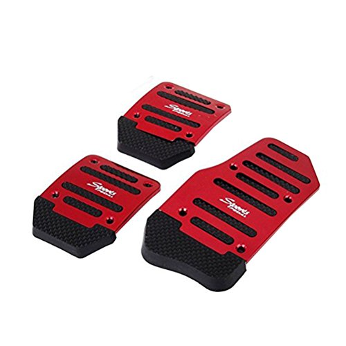 Vosarea Car Non Slip Gas Brake Treadle Clutch Pedal Cover Pad Manual Pedals 3pcs (Red)