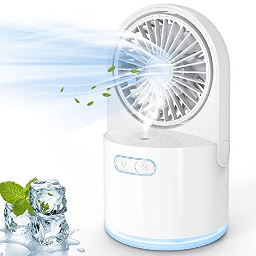 Mini USB Ventilador Con Agua de Mesa, Pequeños Silencioso y Potente, 3 Velocidades y Con Recargable Batería, Ventilador Flexible Portátil Para Oficinas, Dormitorios, Tiendas, Dormitorios, Viajes