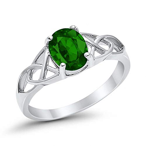 Blue Apple Co. Celtic Accent Solitaire Ring Oval Simulated Emerald 925 Sterling Silver, Size-10