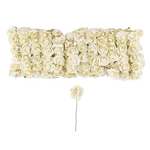 Lot de 144 petites roses artificielles en papier - Fleurs décoratives avec tige en fil de fer - Diamètre : env. 1 cm - Roses artificielles, fleurs artificielles - Pour travaux manuels