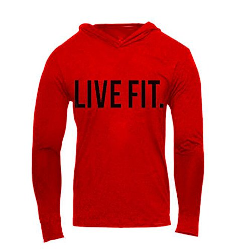 Chns Men's Gym Workout Bodybuilding Long Sleeve Casual Hoodie Sweatshirts Live Fit Letter Printed Training Sports Pullover Red-S