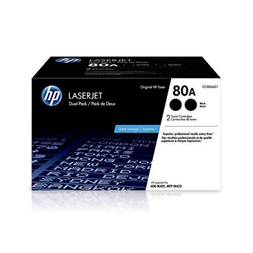 HP 80A   CF280AD1   2 Toner Cartridges   Works with HP Laserjet Pro 400 Printer M401 Series, M425dn   Black