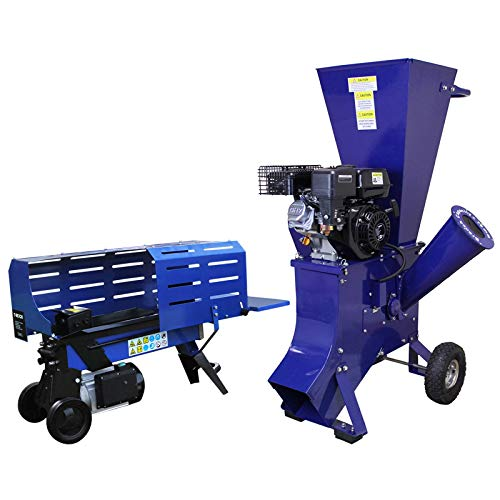 T-Mech Holzspalter 7T 520mm & T-Mech 6,5PS Holzhackmaschine Holzspaltmaschine Hydraulikspalter Elektrische Axt Gartenhäcksler