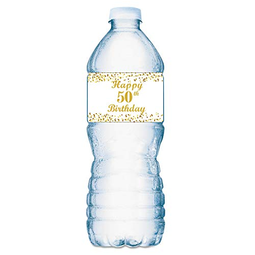 50th Birthday Water Bottle Labels; Set of 20 Waterproof Water Bottle Wrappers; Gold and White. Happy Birthday Labels