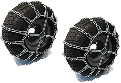 The ROP Shop   Pair of 2 Link Tire Chains & Tensioners20x10x8for Snow Blowers, Lawn & Garden Tractors, Mowers & Riders, UTV, ATV, 4-Wheelers, Utility Vehicles