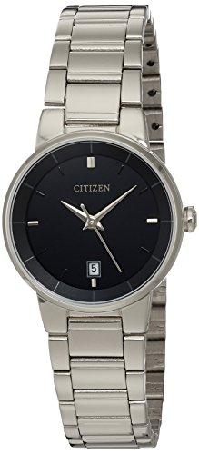 Citizen Reloj de cuarzo para mujer, acero inoxidable, clásico, tono plateado (Modelo: EU6010-53E)