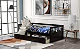 SFGJ Twin Daybed Sofa Bed Wooden Platform Bed with Inseparable 2 Storage Drawers (Espresso)