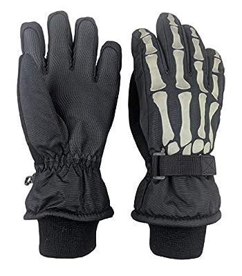 N'Ice Caps Kids Glow in the Dark Skeleton Print Thinsulate Waterproof Gloves (9-10 Years, Black Skeleton)